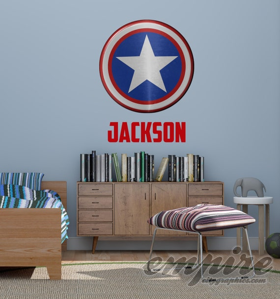Superhero Shield Wall Decal, Captain Shield, Custom Name Decal, Personalized Name Wall Decal, Captain America Style Decal