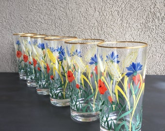 Vintage Handpainted Floral Glasses Hand Painted Red Poppy, Blue Flowers & Wheat Head Stalks - #3568