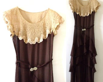 1920's CHARLESTON LACE Tiered Chiffon Brown Art DECO Party Dress ~ 20's Sheer Brown & Beige Lace Summer Dress ~ Size Small
