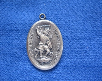 Vintage Holy Saint Michael PRAY FOR US with Guardian Angel Silver Religious Medal Pendant on 18 inch sterling silver rolo chain