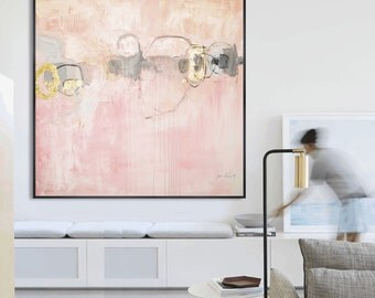 painting  rosa creme grey  abstract Painting, nice acrylic painting   wunderful wall art      from Jolina Anthony wall decor for your home