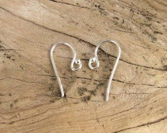 Silver Earwires - Sterling Silver Rounded Earwires - With 2mm Ball - 5 Pairs - 10 Pieces