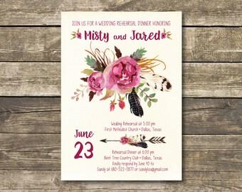 Printed Rehearsal Dinner Invitation - Boho Watercolor Burgundy / Marsala / Wine Rustic Wedding - Bohemian Wedding Rehearsal