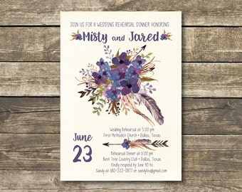 Printed Rehearsal Dinner Invitation - Boho Watercolor Lavender / Navy / Purple / Blue Rustic Wedding - Bohemian Wedding Rehearsal