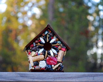 Mosaic birdhouse Outdoor Birdhouse with pinks, golds and Wine corks colorful Stone functional Outdoor garden fancy birdhouse wine cork art