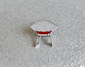 Diamond Chair Enamel Pin - Red Seat - Retro Pin - Lapel Pin - Pin Badge - Soft Enamel Pin - Mid Century Modern - Harry Bertoia - Knoll