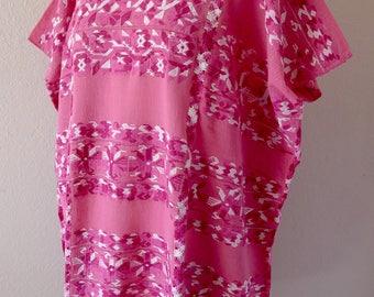 "RESERVE Collectors SuperFino huipil tunic dress handwoven Pink gauze Amuzgos floral patterns boho resort Frida Kahlo 30""W x 36"" L"