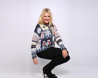 Blue Ugly Christmas Sweater Vintage Cardigan Size XL Large Cardie Gold Xmas Tree Snowmen Presents | Ugly Xmas Shirt Holiday 7CI