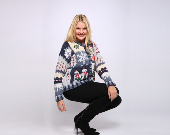 Blue Ugly Christmas Sweater Vintage Cardigan Size XL Large Cardie Gold Xmas Tree Snowmen Presents | Ugly Xmas Shirt Holiday 7CI