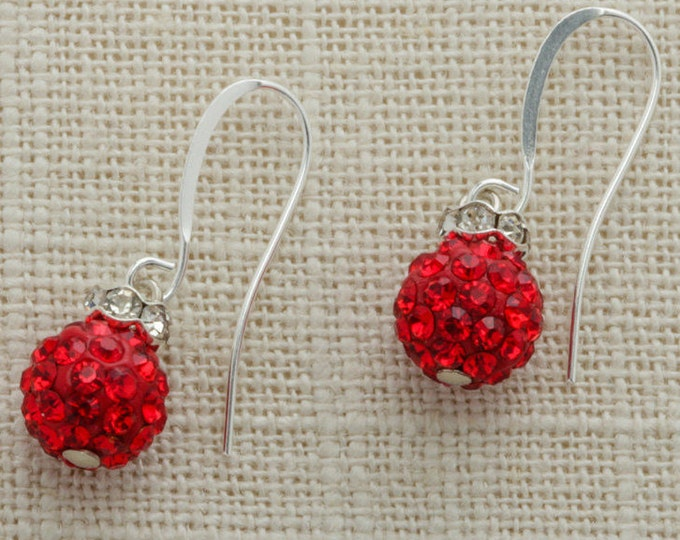 Red Rhinestone Bead Silver Earring French Hooks Handcrafted 6H