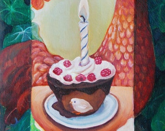 Chicken painting, original artwork:  Birthday chick