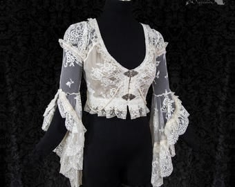 Lace dress cover, ivory shrug, cottage chic wedding, Victorian bolero, Somnia Romantica, size extra small see item details for measurements