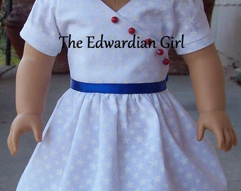 Two of a kind patriotic red, white, and blue 1930's era for 18 inch play dolls such as American Girl, Springfield, OG. Made in USA