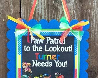 Puppy Party Sign, Paw Patrol Door Sign, Paw Patrol Birthday, Birthday Sign, Welcome Sign, Door Sign, Photo Prop Paw Patrol, Paw Patrol Party