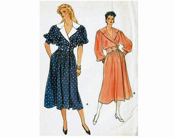 1980s Vogue Wrap Dress Collar Flared Skirt Full Sleeves UNCUT Sewing Pattern Size 12 Bust 34 Vogue 9009