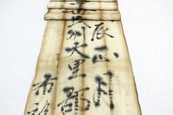 RARE Japanese War Era Sash Worn to Welcome Soldier Home. Antique Cotton with Hand Painted Ink Kanji (Ref: 1660)