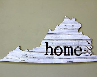 VIRGINIA State Wall Decor | Perfect Gift for Any Occasion | Home Sign | White Chippy Wood