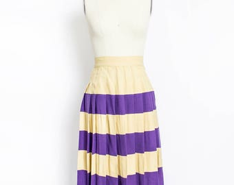 Vintage 1950s Pleated Skirt - Wool Stripes Purple & Gold Huskies UW Cheer Skirt  50s - Small