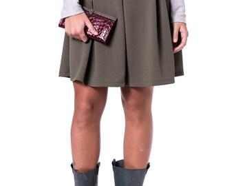 Plated mini skirt Short green skirt High waist mini skirt Winter plated skirt