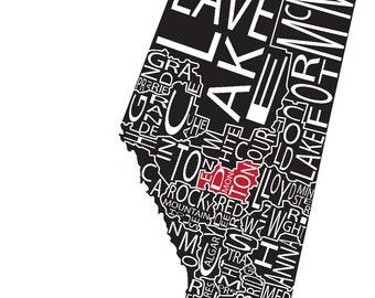 Typographic Map of Alberta, Canada