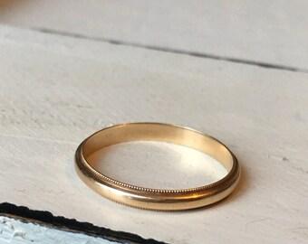 Vintage 14k Wedding Band. Simple Gold Band. Wedding Band. Solid 14k Gold Ring. Miligrain Detail Wedding Band. 14k Yellow Gold - Size 7.5
