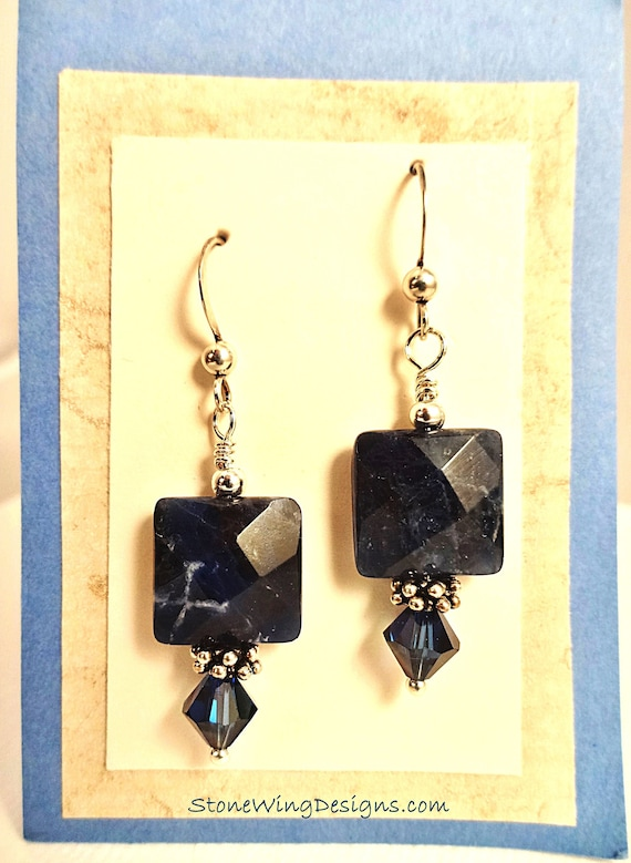Sodalite Earrings, Blue Stone Earrings, Gemstone Earrings, Chunky Stone Square Earrings, Sodalite & Swarovski Earrings Stone Jewelry
