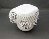 White Crochet Beaded Jug Cover, Purple Ombre Beads, Beaded Glass Cover, Bowl Cover, Creamer Cover, Beaded Doily, Outdoor Dining, Food Cover
