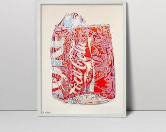 Crushed Coke Can - original handmade silkscreen art screenprint - Red Coca Cola screen print painting