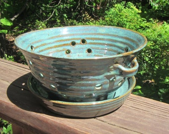 Ceramic Berry Bowl with Plate, Dish, Fruit Bowl, Colander, Strainer, Hand Thrown Pottery, Turquoise & Verte Lustre Glaze