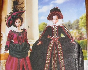 "Linda Carr Craft Sewing Pattern Vogue 9917 Historical Barbie Clothes Elizabethan Edwardian Gowns Hats 11.5"" Fashion Dolls Uncut Factory Fold"