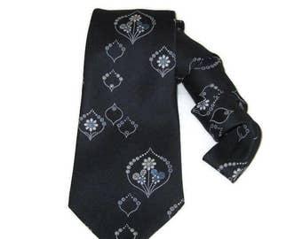 70s Neckwear Wide Blue Tie Wide Necktie 1970s Blue Print Tie  Vintage Wide Tie Blue Flowered Tie White Flowers Floral Tie Graphic Print Tie