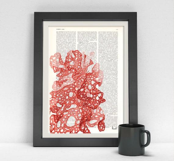 Summer Sale Red sea weed printed on Vintage Dictionary print Japanese Red sea kelp Wall art print sea life sea kelp, seaside SEA030