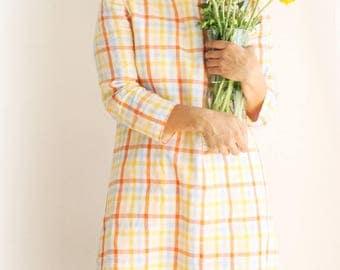 Linen dress, madras dress, madras plaid dress. Petite dress. Japanese dress. Sustainable clothing bespoke, capsule wardrobe. Made in Italy.