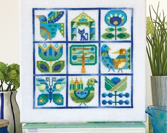 NEW Primavera cross stitch patterns by Satsuma Street Jody Rice at thecottageneedle.com hand embroidery wall art color block Mary Blair
