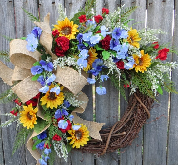 Sunflower Wreath, Spring / Summer Wreath, Burlap Sunflower Farm Wreath, Blue Sweet Pea, Red Rose, Burlap Wreath, Country Decor, Mother's Day