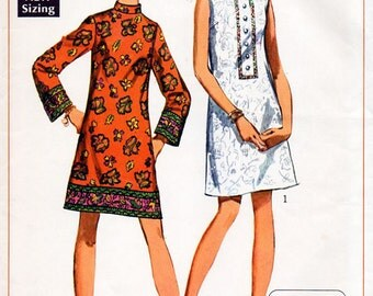 1960s A-Line Mini Dress Pattern Simplicity 8156 Vintage Sewing Pattern Short Mod Dress with Standing Collar Bust 34 Junior Petites FF Unused