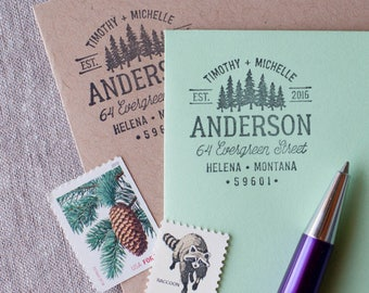 Return Address Stamp, Rubber Stamp, Self Inking Address Stamp, Custom Stamp, Personalized Stamp, Forest address stamp, Rustic wedding stamp