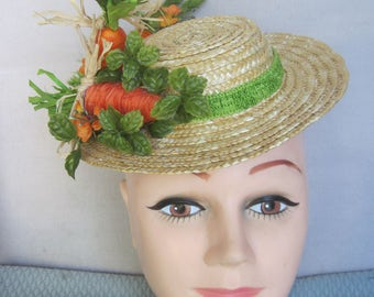 Orange Raffia and Painted Carrots with Barn Straw, Petite Orange Flowers n Farm Greens Spring Fascinator