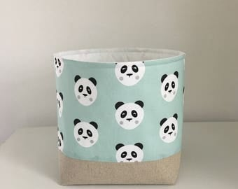 Storage Basket, Fabric Storage Basket, Nursery Storage, Mint Panda Faces