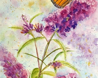 Butterfly Watercolor Giclee Print, Monarch Butterfly Print, Orange, Purple, Yellow, giclee, small, medium, 5x7, 8x10, 11x14