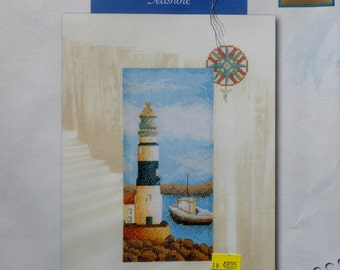 Counted Cross Stitch Kit | SEASHORE | LIGHTHOUSE | Sea Life Collection | Lanarte