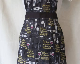 Wine is cheaper than a therapist Apron / Sweetheart full Front Adult Apron / Black and White Apron / Wine Glass / Corkscrew / Wine Bottle