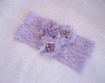 Lavender Wedding Garter Set  Bridal Garter with Toss Garter in Lavender or Blush, Wedding Garder Bridal Wedding Garter with Chiffon Blossoms