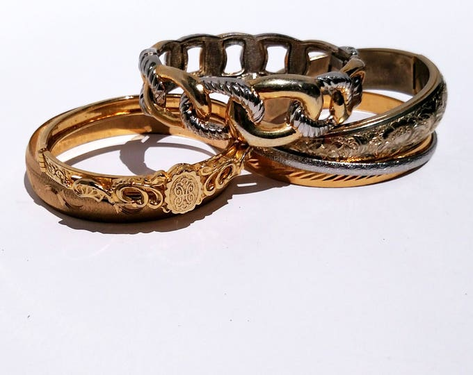 Lot of 6 Vintage 1960's - 1980's Bracelets in Brass and Pewter