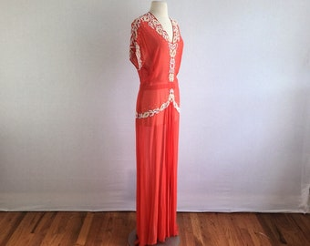 Vintage 20s / 30s sheer orange jazz age dress antique flapper art deco beaded floor length dress