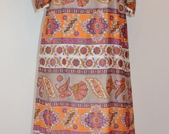 Orange and purple psychedelic paisley floral folk print maxi dress, c.late 1960s, button detailing