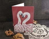 White Swans Valentines Card. Valentines Gift. Romantic Greeting Card. Valentines Day Card. Anniversary Card. Mother's Day Gift. Botanical
