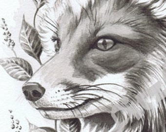Fox with Leaves A4 (small)