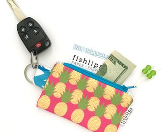 Stocking Stuffer, Aloha Pineapples Recycled Key-chain Coin Purse, Tropical Mini Zipper Pouch, Pink Small Wallet, Beachy Handmade Pouch