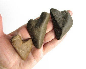 3 River Heart Shaped Rocks - Natural River Stones